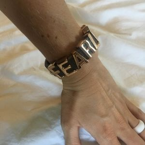BCBG Gray and Rose Gold Fearless Snap Bracelet